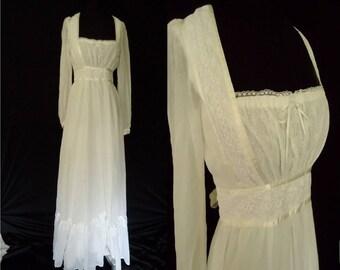 Gauzy Ivory Vintage 1980's Women's Prairie WEDDING Maxi Dress S M