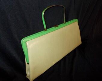 Two Tone GREEN Vinyl Spring MOD Vintage 1960's Women's Clutch Handbag PURSE Easter