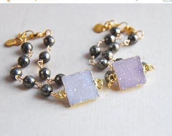 Sale Druzy Bracelet, Druzy, Pyrite Bracelet, Light Purple Druzy, Dark Purple Druzy, Stacking Bracelet, Layering Bracelet, Unique Bracelet, P