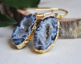 Geode Earrings, Geode Slice Earrings, Druzy Earrings, Druzy Geode Earrings, Gold Druzy Earrings, Gold Geode Earrings, Boho Earrings,Bohemian