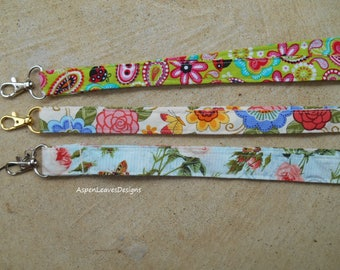 Floral Fabric lanyards in colorful patterns. Pretty women's lanyards.