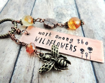 Wildflowers Charm Necklace - Long Boho Necklace - Bumblebee Necklace - Summer Jewelry - Stamped Jewelry - Nature Jewelry - Flower Quote
