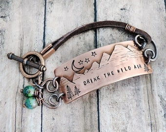 Drink the Wild Air Mountain Bracelet with Leather Strap - Gift for Hiker - Emerson Quote - Outdoor Nature Jewelry - Moon and Stars