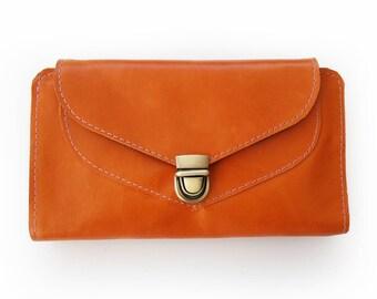 Orange leather wallet, Orange wallet for women, Women's wallet, Handmade wallet