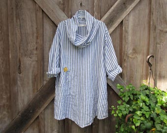 RESERVED FOR V A cowl neck tunic washed linen in blue white stripe ready to ship