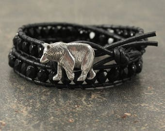 Black Bear Bracelet Beaded Black Leather Bear Jewelry