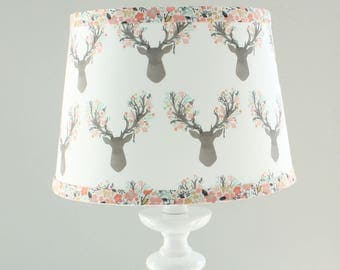 Nursery Lamp shade. Floral Coral Deer, fawn, Floral Little stag, woodland lamp shade.