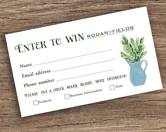 Rodan + Fields Prize Entry Ticket - Raffle Card - WIN Form - Printable -  Christmas - Holiday - Instant Download
