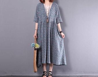 Summer Dress in Blue- Cotton Sundress for Women-Short Sleeved