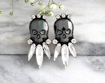 Skull Earrings, Sugar Skull Earrings, Black Skull Earrings, Rock N Roll Bride Earrings, Gift For Her, Gothic Bride Jewelry, Crystal Earrings