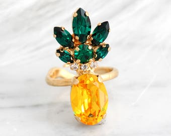 Pineapple Ring, Pineapple Jewelry, Swarovski Cocktail Ring, Tropical Wedding, Statement Rings, Swarovski statement Ring, Crystal Ring