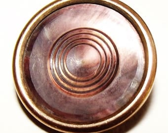 Antique Button ~ Metal Button Abalone Pearl Center ~ Old Button ~  Warranted Superior Quality Back Mark