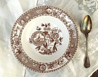 Antique Brown Transferware Soup Bowl Aesthetic Sitka Hughes Potteries Ironstone