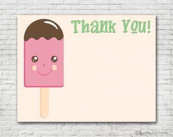 Pink Popsicle Thank You Card - Instant Download