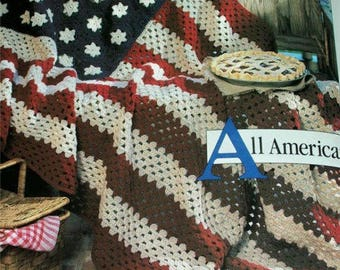 American Flag Afghan OUR BEST AFGHANS A To Z Leisure Arts 3014 Crochet 26 Patterns