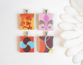 Scrabble Tile Pendants - Set of 4