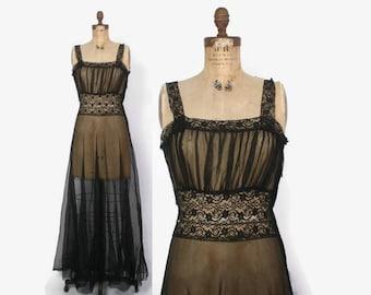 Vintage 40s Black NIGHTGOWN / 1940s Sheer Black Lace Trim Full Skirt Full Length Nightgown M