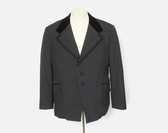 Vintage 60s TUXEDO JACKET / 1960s Men's Dark Gray Velvet Collar Tux Jacket L 44