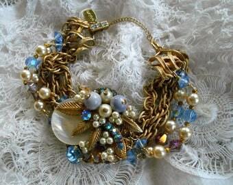 Vintage Assemblage bracelet rhinestones pearls brass leaves and filigree one-of-a-kind 5 strand bracelet Triolette