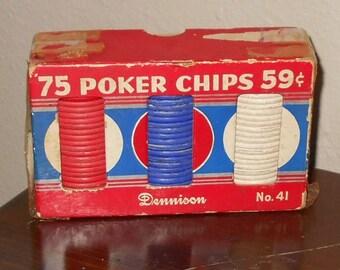 Vintage Poker Chips - 75 Poker Chips 59 Cents - Dommison No. 41 - Poker Player