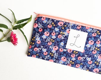 Initial Clutch, Personalized Floral Bag, Zipper Monogram Clutch, Floral Initial Bag, Womens Personalized Pouch, Monogram Womens Gift Ideas,