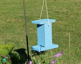 Bird Feeder, Painted Solid Cedar Wood Construction, Easy Fill Design, Color: Sky Blue