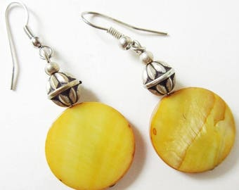 Golden Yellow Mother of Pearl Disk Earrings, Vintage Artisan Crafted