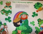"""ST. PATRiCK'S DAY APPLIQUES Top of the Morning Easy Cut and Sew fabric panel 18"""" x 44"""""""