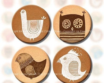 Digital collage sheet Whimsical Birds 1 inch circle images. Bottle caps download for jewelry, magnets, card making, scrapbooks, bottlecaps