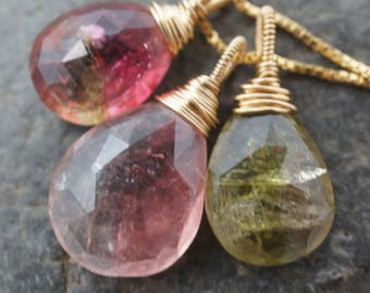 Spring Garden Necklace - Watermelon Rainbow Pink Green Tourmaline and 14K Gold Fill