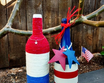 AMERICANA July 4th Red, White & Blue Yarn Wrapped or American Flag Wine Bottle Decor Stars