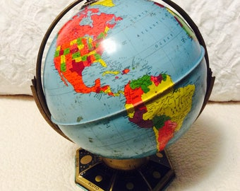 "Vintage J. Chein Metal World Globe Double Axis 9"" 1960s"