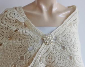 Cream Bridal Shawl/Winter Wedding, Crochet Shawl,Bridal Cover Up-Lace Mohair Shawl-Triangle Shawl-Lace Shawl-Lace Winter Shawl