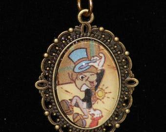 Pinocchio Jiminy Cricket Pendant Necklace Bronze Filigree Brass