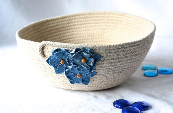 Cute Towel Holder, Handmade Rope Basket, Modern Clothesline Basket, Lovely Blue Bowl,  hand coiled natural rope basket