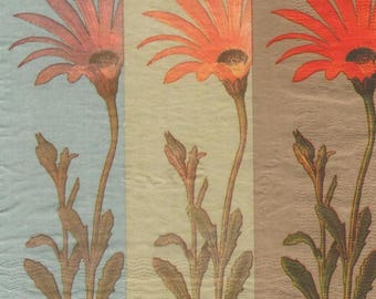 3231 - paper daisies 3 napkins red orange and pink