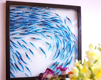 Art Original painting of Shimmering shoal painted layered on glass  with oiled black brushed steel frame