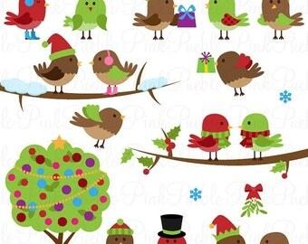 BACK TO SCHOOL Sale Christmas Birds Clipart Clip Art, Holiday Birds Clip Art Clipart - Commercial and Personal Use