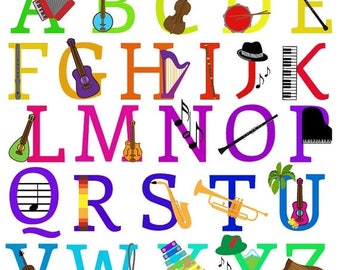 BACK TO SCHOOL Sale Music Alphabet, Font with Instruments Letters Clipart Clip Art, Uppercase - Commercial and Personal Use