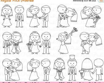 BACK TO SCHOOL Sale Wedding Stick Figure Clipart Clip Art, Wedding Clip Art Clipart Vectors - Commercial and Personal