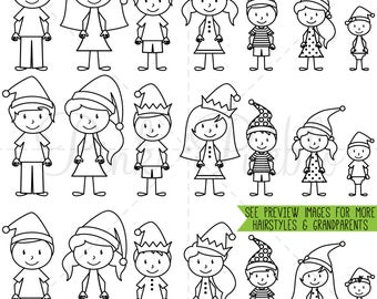 Christmas Stick Figure Digital Stamps, Christmas Stick Figure Clipart, Christmas Stick Figure Family Clipart - Commercial and Personal Use