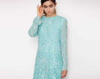Sea Foam Green Glass Beads, Pearls and Sequin Embroidered Dress