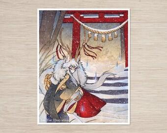 The Summit Gate / Deer Kirin Yokai Spirit / Japanese Asian Style / 8x10 Fine Art Matte Print
