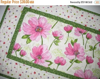 Sale Christmas in July Spring Table Runner, Floral, Easter, quilted, Summer, handmade, table linens, fabric from Red Rooster