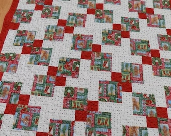 Sale Christmas in July Christmas Cowboy Lap Quilt 72 x 57