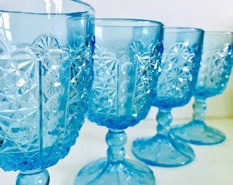 Vintage Ice Blue Pedestal Glasses - Set of 4