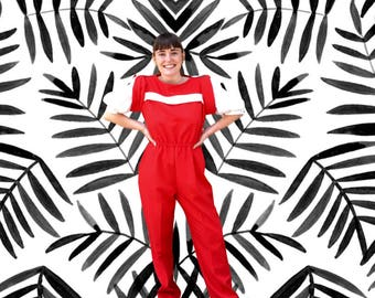 Free Shipping!: Vintage 1980s Red White High Waisted Jumpsuit Puffy Sleeves