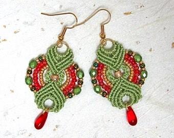 Micromacrame green and red earrings Drop earrings Dangle earrings Woven earrings
