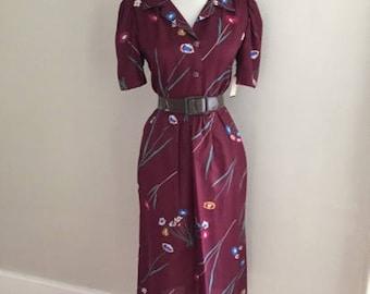 VINTAGE 60s Floral Dress | Secretary Dress / 1960s Skirt + Blouse Set / Retro Floral Dress / Wiggle Pencil Skirt Dress / Mad Men Style