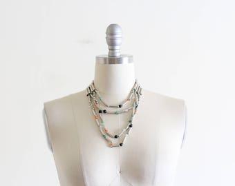 Vintage Metal and Stone Beaded Multi Strand Necklace / Modern Boho
